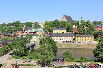 Medieval old town in Porvoo is one of the most popular tourist destinations in summers for those who are fascinated by the old look. Porvoon tuomiokirkko Nasinmaelta.JPG