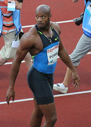 English: Asafa Powell after his 9.72 win and t...