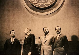 Hazza' al-Majali - King Hussein of Jordan (left) U.N Secretary General Dag Hammarskjöld (Middle-left) Premier Hazza' Al Majali (Middle-Right) Abdelmunim al-Rifai (right) at the U.N committee
