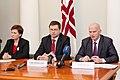 Preses konference par Ministru prezidenta Valda Dombrovska vadītās trešās valdības veikumu pirmajās simts dienās un nākotnes iecerēm (6770488945).jpg