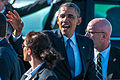 President Barack H. Obama, center, waves during a visit to Moffett Federal Airfield, Calif., June 6, 2013 130606-Z-HW473-088.jpg