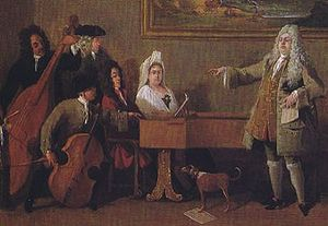 Giulio Cesare - The librettist Nicola Francesco Haym seated at the harpsichord, Marco Ricci, c 1709