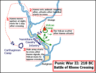 Battle of Rhone Crossing - Battle of Rhone Crossing, 90 km from mouth of the Rhone