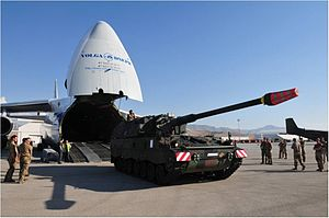 Self-propelled artillery - A Panzerhaubitze 2000 of the German Army arriving in Afghanistan