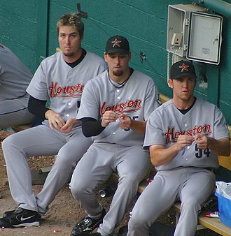Chad Qualls - Qualls (left) with Dan Wheeler and Brad Lidge.