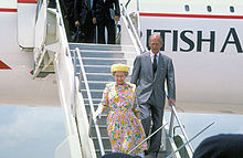 Queen Elizabeth II and Prince Philip disembark from a British Airways Concorde.jpg