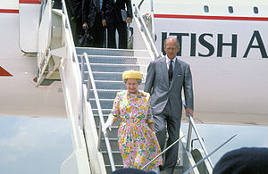 Air transport of the British royal family and government - Queen Elizabeth II and Prince Philip disembark from a British Airways Concorde at Bergstrom Air Force Base near Austin, Texas, on their state visit to USA in 1991