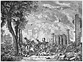 A chaotic scene of a riot in which buildings burn in the background while people are attacked by mounted soldiers with swords