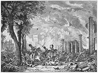 Queen Square, Bristol - The 1831 Riot in a nineteenth-century engraving