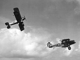Two Royal Air Force biplanes in flight