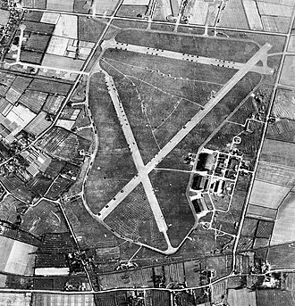 RAF Goxhill - RAF Aerial photograph of Goxhill airfield. taken on 29 April 1947.  The runways are blocked with different types of equipment.  Also, the control tower and technical site with two T2 hangars and a J-Type hangar is on the right.