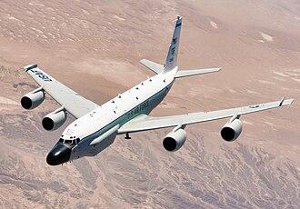 Boeing RC-135 - An RC-135 Rivet Joint reconnaissance aircraft in flight.