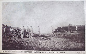 2nd Kent Artillery Volunteers - RML 8-inch howitzers of the RGA in action at Lydd, 1903.