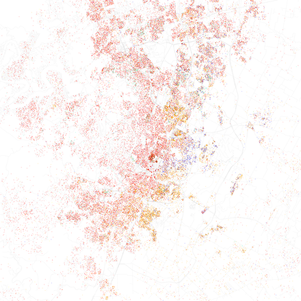 Map of racial distribution in Austin, 2010 U.S. Census. Each dot is 25 people: White, Black, Asian Hispanic, or Other (yellow) Race and ethnicity 2010- Austin (5560474714).png