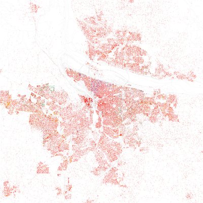 Map of racial distribution in Portland, 2010 U.S. Census. Each dot represents 25 people, according to the following color code: White, Black, Asian, Hispanic or Other (yellow). Race and ethnicity Portland (2010).png