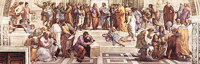 La escuela de Atenas, una de las pinturas más famosas del artista Rafael Sanzio. En ella se muestra a Platón con el dedo señalando al cielo, en la que hace referencia a la Teoría de las Ideas, y a Aristóteles, en el que señala con su dedo a la tierra, como muestra de su idea opuesta con la de Platón.
