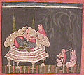Ragamala, A princess on a throne with a maid and two musicians (6124586629).jpg