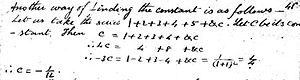"1 + 2 + 3 + 4 + ⋯ - Passage from Ramanujan's first notebook describing the ""constant"" of the series"