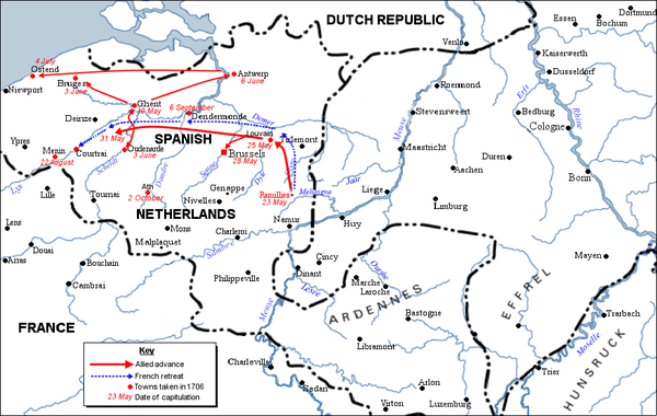 Allied gains of the Ramillies campaign 1706. (Note: Dates of capitulation differ slightly depending on source). Ramillies campaign 1706 - Allied gains.png