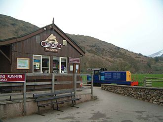 Ravenglass and Eskdale Railway - The old building at Dalegarth Station near Boot, with Ravenglass-built diesel loco Lady Wakefield