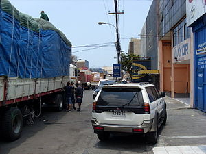 Zona Franca of Iquique - The walled enclosure of ZOFRI, truck loading place Bolivians, Peruvians and Paraguayans.