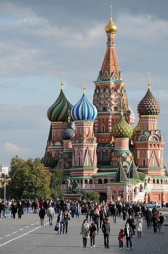 Outline of Russia - Saint Basil's Cathedral on the Red Square, Moscow