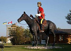 The Mountie statue, visible from Highway 13