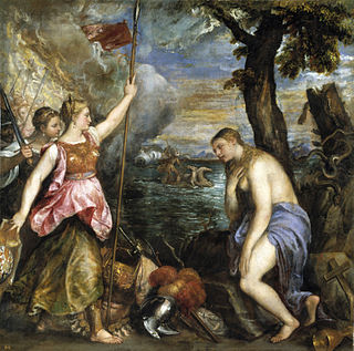 <i>Religion saved by Spain</i> painting by Titian