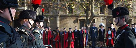 The Remembrance Sunday parade in Oxford in 2011. Remembrance Sunday parade, Oxford (6352329691).jpg
