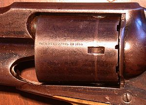 Rollin White - Remington Conversion, Rollin White Patent April 3. 1855 inscribed on cylinder
