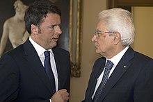 Mattarella con il presidente del Consiglio Matteo Renzi nel 2015