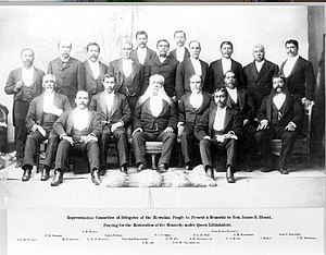 John Mahiʻai Kāneakua - Committee members, selected to present a memorial to U.S. Special Commissioner, James Blount. Kāneakua is seated on the bottom right