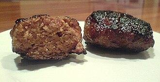 Rissole - Australian rissoles, cooked and cut in half
