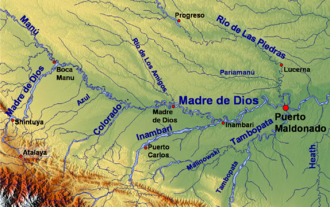 Madre de Dios River - The upper Madre de Dios River and its main tributaries upstream from Puerto Maldonado