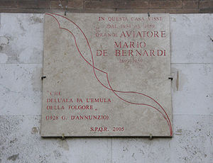 Mario de Bernardi - The plaque honoring Mario de Bernardi placed in March 2006 at Via Panama 86, Rome, Italy - his home from 1939 to 1959.