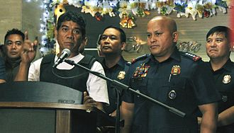 New Bilibid Prison drug trafficking scandal - Ronnie Dayan at a press conference with PNP Chief Ronald dela Rosa following his arrest