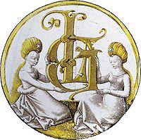 Rondel au monogramme de Laurens Girard Attribué à Jean Fouquet, vers 1450-1460 Vitrail grisaille, diamètre: 20 cm Paris, musée national du Moyen Âge - Cluny Photo RMN - H..