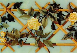 Pietra dura - Detail of design with roses over crossed canes, 1882