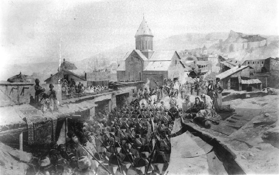 Roubaud. Russian troops entering Tiflis in 1799