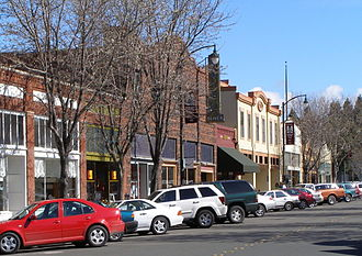 Santa Rosa, California - Restaurants and other retail stores occupy several historic buildings in Santa Rosa's Railroad Square district in the downtown area, including these along Fourth Street.