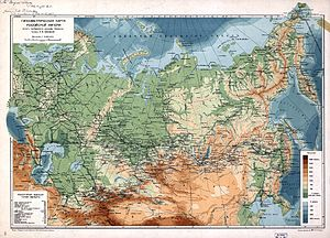 Yuly Shokalsky - A 1912 map of the Russian Empire by Shokalsky, with his personal dedication to the Library of Congress in the upper left corner.