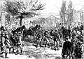 Russian troops marching past the Emperor Alexander II and the Grand Duke Nicholas at Ploesti.jpg
