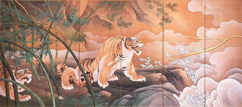 File:Ryūko-zu Byōbu by Hashimoto Gahō(Part of the tiger).jpg