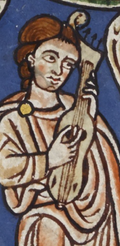 Citole or fiddle player from Rylands Psalter