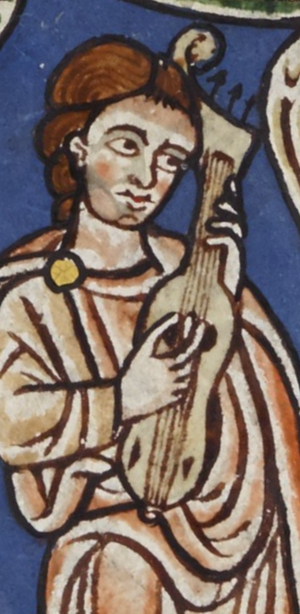 Guitar fiddle - Cythara? Plucked guitar fiddle? Vielle or Viol? From the Rylands Beatus. c. 1175.