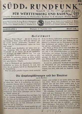 Südwestrundfunk - Program guide of Süddeutsche Rundfunk AG (SÜRAG) Stuttgart (18 September 1924)