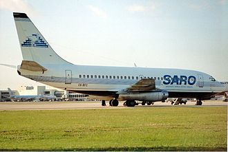 SARO (airline) - A former SARO B737 at Miami International Airport in 1992