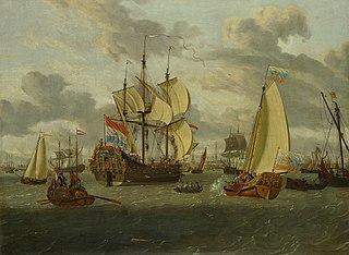 Czaar Peter de Grote aan boord van zijn jacht op weg naar de Pieter en Paul