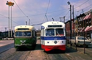Richmond-Westmoreland Streets Loop - Two PCC streetcars at the Richmond-Westmoreland Loop in May 1976.