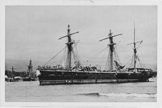 SMS Olga - Olga aground in Apia harbor following the 1889 Apia cyclone